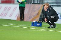 1. divisjon fotball 2015: Hødd - Fredrikstad. Hødds trener Sindre Eid etter 1-1 scoringen i førstedivisjonskampen mellom Hødd og Fredrikstad på Høddvoll.