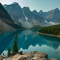 Mounts Babel, Bowlen, Tonsa, Perren, Allen, Tuzo & Deltaform Mountain (LtoR) tower above Moraine Lake and The Valley of the Ten Peaks in Banff National Park, Alberta, Canada.