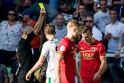 (L-R) referee Bjorn Kuipers, Mats Seuntjens of AZ during the Dutch Eredivisie match between FC Groningen and AZ Alkmaar at Noordlease stadium on October 15, 2017 in Groningen, The Netherlands
