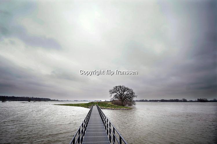 Nederland, West Maas en Waal, 6-3-2020 Het waterpeil in de rivier de Waal staat nog hoog. Uiterwaarden zijn ondergelopen, staan nog steeds onder water . De Loenensche buitenpolder in de betuwe (links op de foto) is volgelopen. Hier is afgelkopen jaren een waterberging aangelegd die ook een nieuw natuurgebied en wandelgebied heeft opgeleverd . Foto: Flip Franssen
