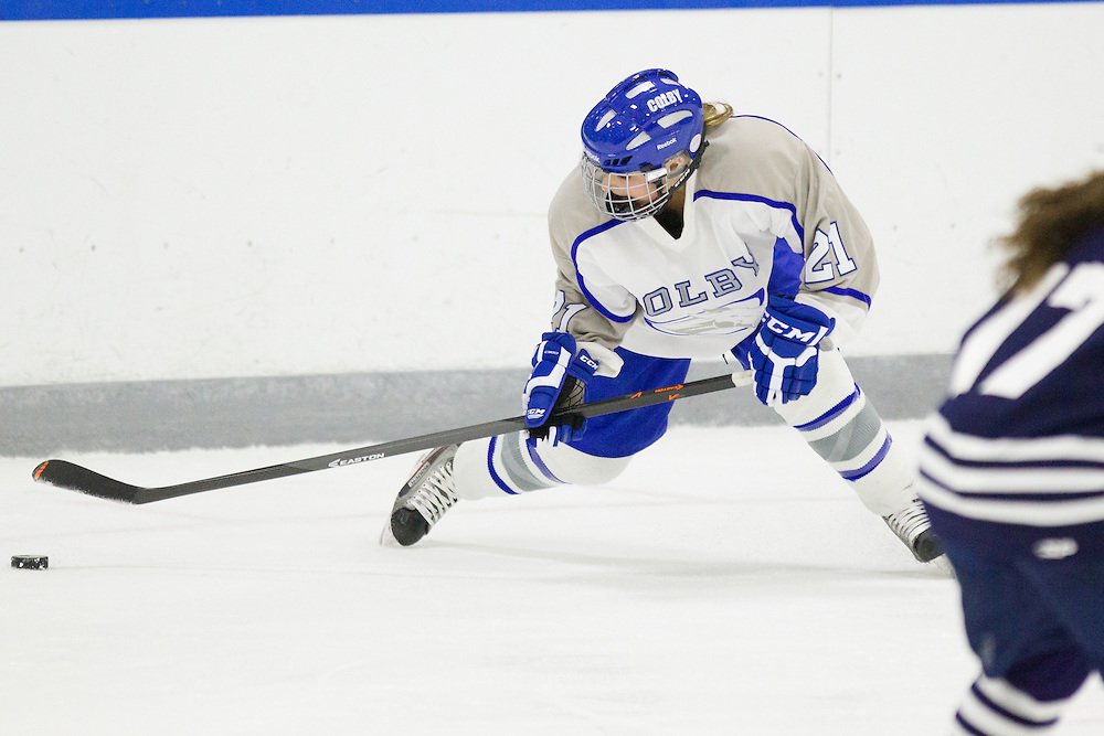 Nikki Donato, of Colby College, in a NCAA Division III hockey game against Middlebury College on November 15, 2013 in Waterville, ME. (Dustin Satloff/Colby College Athletics)