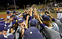 TCU's players huddle together after a 8-2 win over Texas A&M in a NCAA college baseball super regional tournament game, Friday, June 10, 2016, in College Station, Texas. (AP Photo/Sam Craft)