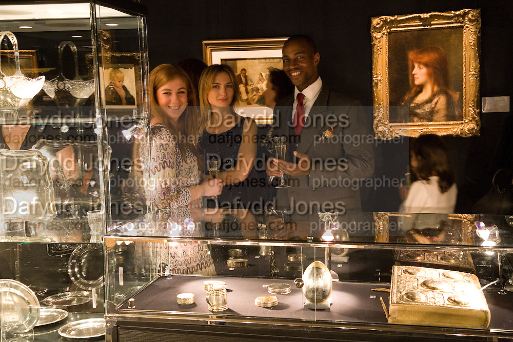 KATE LOMIDZE; VICTORIA GAVRILROVA; PRINCE TAYO ALFRED OYEKOYA; , Imperial and Royal Presents. Russian auction. Sotheby's. New Bond St. London. 23 November 2008.  *** Local Caption *** -DO NOT ARCHIVE-© Copyright Photograph by Dafydd Jones. 248 Clapham Rd. London SW9 0PZ. Tel 0207 820 0771. www.dafjones.com.