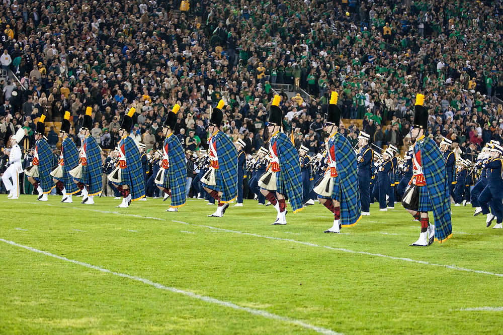The Notre Dame band marches onto the field led by the Irish Guard prior to NCAA football game between Notre Dame and USC.  The USC Trojans defeated the Notre Dame Fighting Irish 31-17 in game at Notre Dame Stadium in South Bend, Indiana.