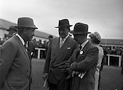 24/06/1959<br /> 06/24/1959<br /> 24 June 1959<br /> Irish Derby at the Curragh Racecourse. Picture shows Mr M.V. O'Brien (right) trainer, chatting to Mr P.J. Prendergast and Mr Frank More Ferral at the races.