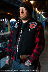 Tampa tattoo artist Sukoshi Sills at the Iron Horse Saloon. Ormond Beach, FL.  Friday, March 9, 2018. Photography by Michael Lichter. ©2018 Michael Lichter