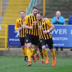 TELFORD COPYRIGHT MIKE SHERIDAN 2/3/2019 - GOAL. Ben Davies scores from the spot to make it 1-1 during the National League North fixture between Boston United and AFC Telford United at the York Street Jakemans Stadium
