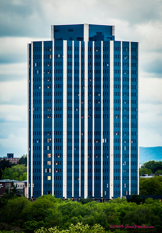 Martin Tower, Bethlehem Steel's former world headquarters in Bethlehem, Pa. on May 14, 2019. The 21-story structure is to be imploded Sunday, May 19, 2019.<br /> - Photography by Donna Fisher.<br /> - Donna Fisher Photography, LLC                      - donnafisherphoto.com