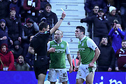 Yellow card for John McGinn during the William Hill Scottish Cup 4th round match between Heart of Midlothian and Hibernian at Tynecastle Stadium, Gorgie, Scotland on 21 January 2018. Photo by Kevin Murray.