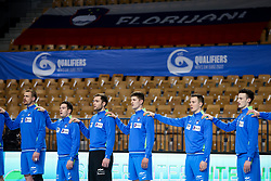 Players of Slovenia listening to the national anthem during handball match between National Teams of Slovenia and Poland in Qualification Phase 2 of Men's EHF Euro 2022 Qualifiers, on March 9, 2021 in Arena Zlatorog, Celje, Slovenia. Photo by Vid Ponikvar / Sportida