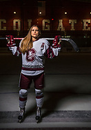 Photos by Mark DiOrio / Colgate University<br /> Portrait of Livia Altmann '19, Colgate Raiders defense hockey player, Apr. 28, 2017 in Hamilton, N.Y. Altmann was one of the players to represent Switzerland's women's national ice hockey teams and won the bronze medal in the Sochi 2014 Olympics after defeating Sweden in the bronze medal playoffs.