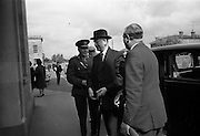 05/05/1965<br /> 05/05/1965<br /> 05 May 1965<br /> President Eamon de Valera visits the RDS Spring Show at Ballsbridge Dublin.  The President arriving  at the RDS, Mr. J. Meenan, M.A. BL., Chairman of the Executive Committee of the RDS is on the right.
