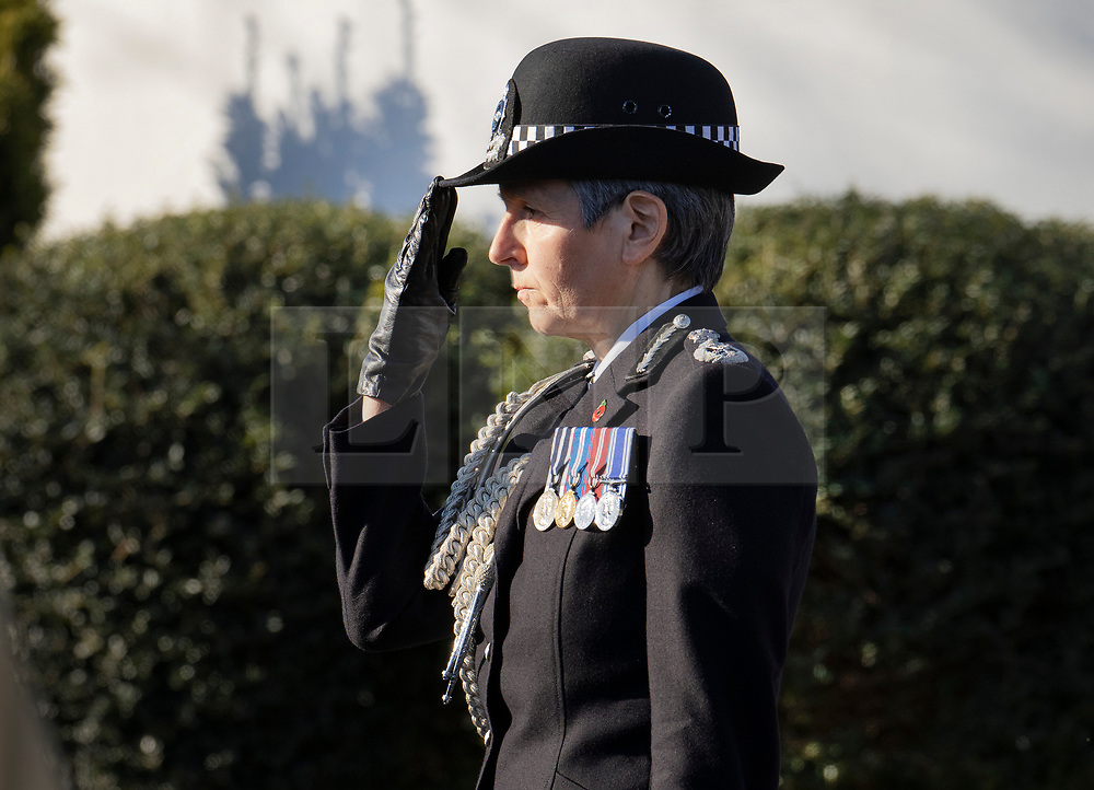 © Licensed to London News Pictures. 04/11/2020. Shoreham, UK. Metropolitan Police Commissioner Cressida Dick salutes as the funeral cortege carrying the coffin of police Sgt Matt Ratana leaves a funeral directors in Shoreham, West Sussex after a service was held. Family members were joined by police colleagues including Metropolitan Police Commissioner Cressida Dick. A tradional Maori Haka was performed during the service. Sgt Ratana died from a gunshot wound to the chest in the early hours of September 25 at Croydon custody centre. Photo credit: Peter Macdiarmid/LNP