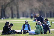 People are seen enjoying the sunny weekend with their friends and loved ones in Hyde Park, Central London on Saturday, April 17, 2021. England welcomed the return of outdoor drinking and dining on Monday, but the easing of lockdown was also met with concerns about a lack of social distancing, and a wider sense of nervousness within the hospitality sector as businesses tried to operate at a significantly lower capacity and with some confusion over the rules. Millions of people in England will get their first chance in months for haircuts, casual shopping and restaurant meals this week, as the government takes the next step on its lockdown-lifting road map. (Photo/ Vudi Xhymshiti)