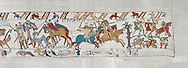 Bayeux Tapestry scene 58 :  Duke William wins the Battle of Hastings and is proclaimed King of England. BYX58 .<br /> <br /> If you prefer you can also buy from our ALAMY PHOTO LIBRARY  Collection visit : https://www.alamy.com/portfolio/paul-williams-funkystock/bayeux-tapestry-medieval-art.html  if you know the scene number you want enter BXY followed bt the scene no into the SEARCH WITHIN GALLERY box  i.e BYX 22 for scene 22)<br /> <br />  Visit our MEDIEVAL ART PHOTO COLLECTIONS for more   photos  to download or buy as prints https://funkystock.photoshelter.com/gallery-collection/Medieval-Middle-Ages-Art-Artefacts-Antiquities-Pictures-Images-of/C0000YpKXiAHnG2k