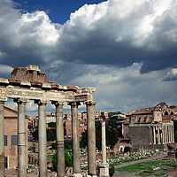 Temple of Saturn at Forum in Rome, Italy.