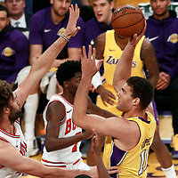 21 November 2017: Los Angeles Lakers center Brook Lopez (11) goes for the baby hook over Chicago Bulls center Robin Lopez (42) during the LA Lakers 103-94 victory over the Chicago Bulls, at the Staples Center, Los Angeles, California, USA.