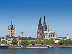 Skyline of Cologne on the Rhine River  city and famous Dom or Cathedral in Germany