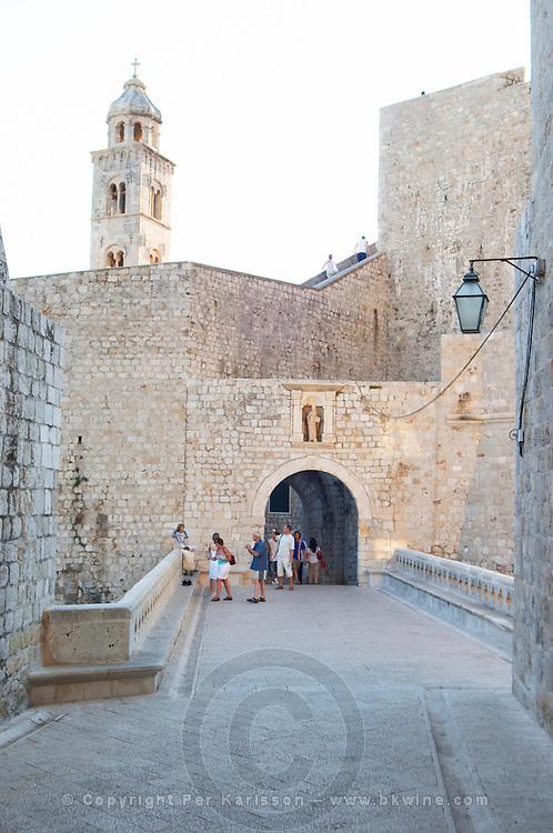 The city gate Ploce and the clock tower. Dubrovnik, old city. Dalmatian Coast, Croatia, Europe.