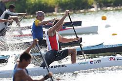 07.08.2014, Krylatskoe, Moskau, RUS, ICF, Kanu WM 2014, Moskau, im Bild Sebastian Brendel (Potsdam) gewinnt den im CI 1.000m // during the ICF Canoe Sprint World Сhampionships 2014 at the Krylatskoe in Moskau, Russia on 2014/08/07. EXPA Pictures © 2014, PhotoCredit: EXPA/ Eibner-Pressefoto/ Freise<br /> <br /> *****ATTENTION - OUT of GER*****