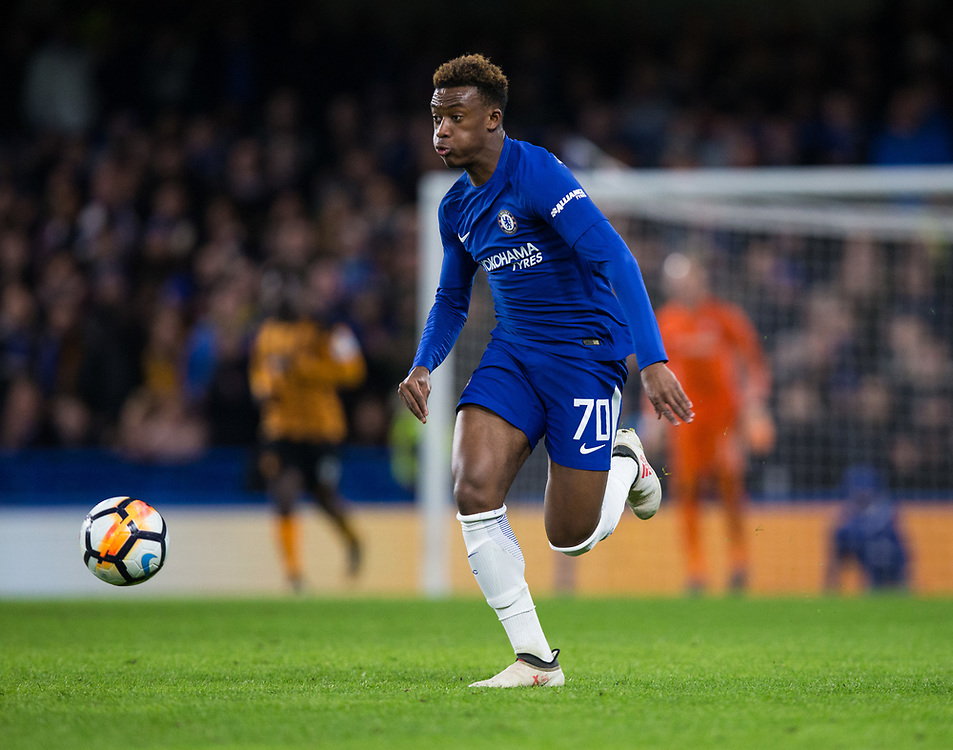 Chelsea's Callum Hudson-Odoi in action <br /> <br /> Photographer Craig Mercer/CameraSport<br /> <br /> Emirates FA Cup Fifth Round - Chelsea v Hull City - Friday 16th February 2018 - Stamford Bridge - London<br />  <br /> World Copyright © 2018 CameraSport. All rights reserved. 43 Linden Ave. Countesthorpe. Leicester. England. LE8 5PG - Tel: +44 (0) 116 277 4147 - admin@camerasport.com - www.camerasport.com