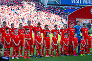 Wales line up ahead of the UEFA European 2020 Qualifier match between Wales and Slovakia at the Cardiff City Stadium, Cardiff, Wales on 24 March 2019.