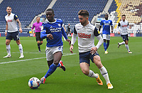 Preston North End's Sean Maguire battles with Carfiff City's Jordi Osei-Tutu<br /> <br /> Photographer Dave Howarth/CameraSport<br /> <br /> The EFL Sky Bet Championship - Preston North End v Cardiff City - Sunday 18th October 2020 - Deepdale - Preston<br /> <br /> World Copyright © 2020 CameraSport. All rights reserved. 43 Linden Ave. Countesthorpe. Leicester. England. LE8 5PG - Tel: +44 (0) 116 277 4147 - admin@camerasport.com - www.camerasport.com