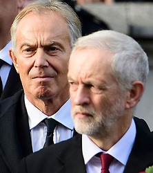 © Licensed to London News Pictures. 13/11/2016. London, UK.  L to R Former British prime minster TONY BLAIR, leader of the Labour party JEREMY CORBYN and current British prime minister THERESA MAY attend a Remembrance Day Ceremony at the Cenotaph war memorial in London, United Kingdom, on November 13, 2016 . Thousands of people honour the war dead by gathering at the iconic memorial to lay wreaths and observe two minutes silence. Photo credit: Ben Cawthra/LNP