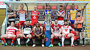 Picture by Allan McKenzie/SWpix.com - 02/02/2017 - Rugby League Betfred Super League and Kingston Press Championships Launch - Leigh Sports Village - Players from the 12 Super League Clubs pictures at the Betfred Super League 2017 Launch at Leigh l to r, Salford, Warrington, Hull FC, Wakefield, St Helens, Wigan, Leeds, Castleford,Leigh, Catalans, Huddersfield and Widnes