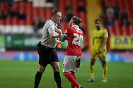 Chris Solly of Charlton Athletic appeals to Referee Trevor Kettle from giving a red card to Tareiq Holmes-Dennis of Charlton Athletic for fouling Ben Osborn of Nottingham Forest .. Skybet football league championship match, Charlton Athletic v Nottingham Forest at The Valley  in London on Saturday 2nd January 2016.<br /> pic by John Patrick Fletcher, Andrew Orchard sports photography.