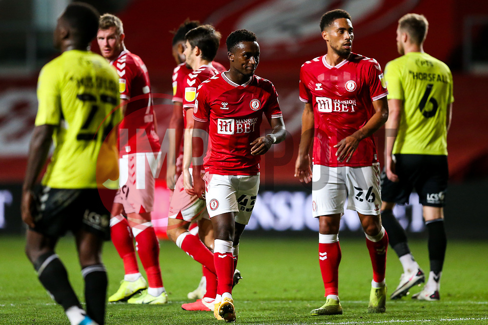Steven Sessegnon of Bristol City as Antoine Semenyo of Bristol City celebrates scoring a goal to make it 3-0 - Rogan/JMP - 16/09/2020 - Ashton Gate Stadium - Bristol, England - Bristol City v Northampton Town - Carabao Cup Second Round.