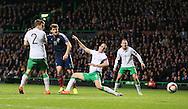Chris Martin of Scotland has shot on goal  - UEFA Euro 2016 Qualifier - Scotland vs Republic of Ireland - Celtic Park Stadium - Glasgow - Scotland - 14th November 2014  - Picture Simon Bellis/Sportimage