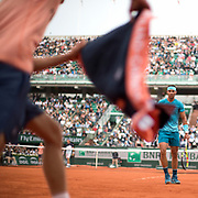 PARIS, FRANCE June 6. French Open Tennis Tournament - Day Eleven. El Toro Miura, The Miura Bull,Rafael Nadal of Spain requests his towel from a ball boy during his match against Diego Schwartzman of Argentina on Court Philippe-Chatrier during the Men's Singles Quarter Finals at the 2018 French Open Tennis Tournament at Roland Garros on June 6th 2018 in Paris, France.  (Photo by Tim Clayton/Corbis via Getty Images)