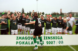Players of Krka and their captain Jadranka Knezevic (12)  celebrating after the  final game of NZS women football cup between ZNK Pomurje vs ZNK Krka, on June 4, 2008, at ZAK stadium in Ljubljana, Slovenia. Krka won the match 4:1 and became Slovenian Cup Champion. (Photo by Vid Ponikvar / Sportal Images)