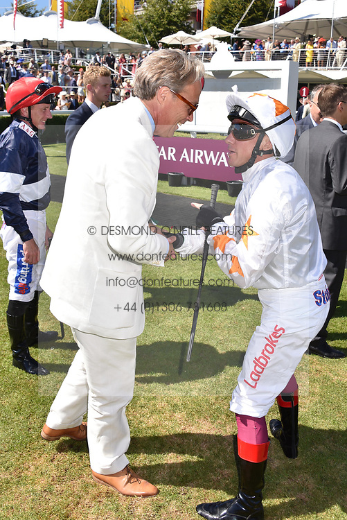 The Duke of Richmond and Frankie Dettori at the Qatar Goodwood Festival - Glorious Goodwood, Goodwood Racecourse, West Sussex 02 August 2018.
