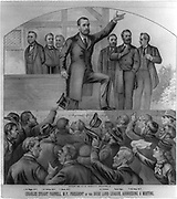 Charles Stewart Parnell (1846-1891) Irish nationalist, political leader and champion of Home Rule. Parnell, President of the Irish Land League, Addressing a Meeting. Lithograph c1883.