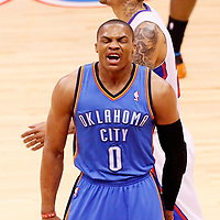 11 May 2014: Oklahoma City Thunder guard Russell Westbrook (0) reacts during the Los Angeles Clippers 101-99 victory over the Oklahoma City Thunder, during Game Four of the Western Conference Semifinals of the NBA Playoffs, at the Staples Center, Los Angeles, California, USA.