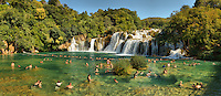 National Park Krka and swimming in beautiful Skradinski waterfalls and crystal clear blue water.