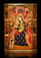 Gothic painted Panel Virgin of the Angels by  Enrique de Estencop. Tempera, stucco reliefs and gold leaf on wood. 1391-1392. Dimensions 142.2 x 99 x 8 cm.  National Museum of Catalan Art, Barcelona, Spain, inv no: 064025-000 .<br /> <br /> If you prefer you can also buy from our ALAMY PHOTO LIBRARY  Collection visit : https://www.alamy.com/portfolio/paul-williams-funkystock/gothic-art-antiquities.html  Type -     MANAC    - into the LOWER SEARCH WITHIN GALLERY box. Refine search by adding background colour, place, museum etc<br /> <br /> Visit our MEDIEVAL GOTHIC ART PHOTO COLLECTIONS for more   photos  to download or buy as prints https://funkystock.photoshelter.com/gallery-collection/Medieval-Gothic-Art-Antiquities-Historic-Sites-Pictures-Images-of/C0000gZ8POl_DCqE