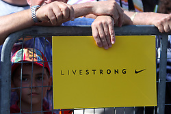 Livestrong table at finish line of 2nd stage of 92nd Giro d'Italia in Trieste, on May 10, 2009, in Trieste, Italia.  (Photo by Vid Ponikvar / Sportida)