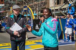 BAA Invitational Mile, Catherine Ndereba speaks to spectators