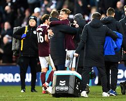 Hearts Harry Cochrane celebrates after the final whistle of the Ladbrokes Scottish Premiership match at Tynecastle Stadium, Edinburgh.