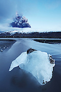 Iceland under construction. Large icecube in the river Markarfljót after a flod from the erupting volcano in Eyjafjallajökull, south Iceland