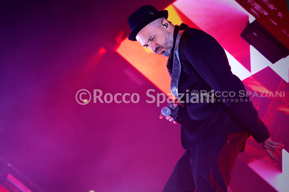 Subsonica Performs In Rome<br /> ROME, ITALY - FEBRUARY 21: Samuel and his group Subsonica performs on stage at Palalottomatica on February 21, 2019 in Rome, Italy.