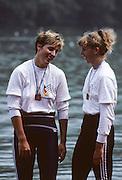 Lucerne, SWITZERLAND  GER W2X, left Kathrin BORON.  1992 FISA World Cup Regatta, Lucerne. Lake Rotsee.  [Mandatory Credit: Peter Spurrier: Intersport Images] 1992 Lucerne International Regatta and World Cup, Switzerland