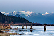 Winter view of the Pitt River and Osprey Mountain from the Poco Trail in Port Coquitlam, British Collumbia, Canada.