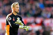 Leicester City Goalkeeper Kasper Schmeichel looks on. Premier league match, Stoke City v Leicester City at the Bet365 Stadium in Stoke on Trent, Staffs on Saturday 4th November 2017.<br /> pic by Chris Stading, Andrew Orchard sports photography.