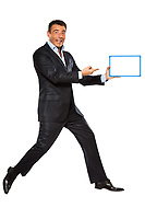 one caucasian business man running jumping double thumbs up holding whiteboard in studio isolated on white background