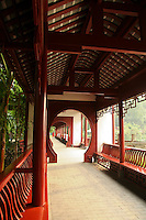 Baihuatan Park Bridge, Chengdu - <br /> Baihuatan is of the most beautiful parks in Chengdu with teahouses, beautiful landscaping and greenery, ornate bridges and ponds.