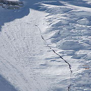 Hundreds of climbers in a line on the Lhotse Face of Everest on May 18, 2012. Crowding and delays on the summit ridge the next day resulted in several deaths on the mountain.